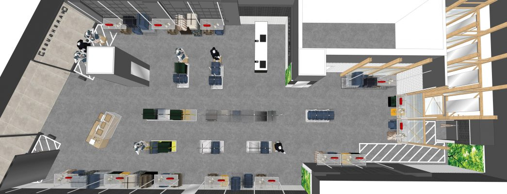 Retail space design and planning for warehouse retail design